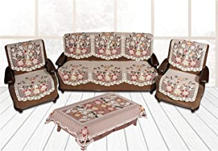 Yellow Weaves 5 Seater Sofa Cover Set with 1 Center Table Cover