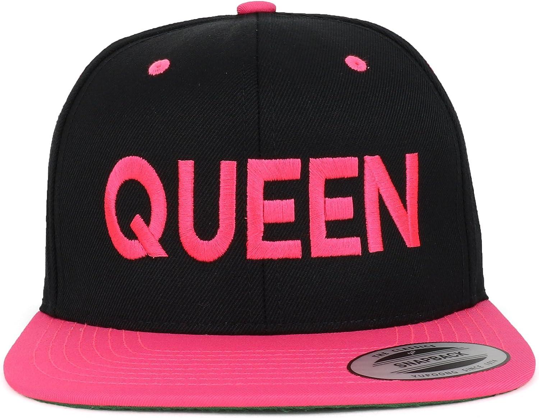 Trendy Apparel Shop Queen Embroidered Flat Bill 2-Tone Ball Cap