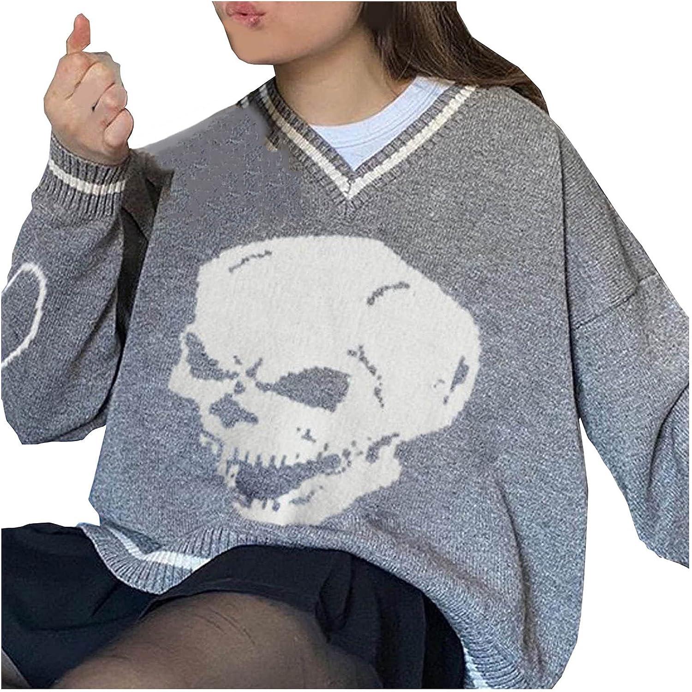 LADIGASU Women Knit Sweater Vest Skull Graphics Sleeveless/Long Sleeve V Neck Pullover Top Y2K