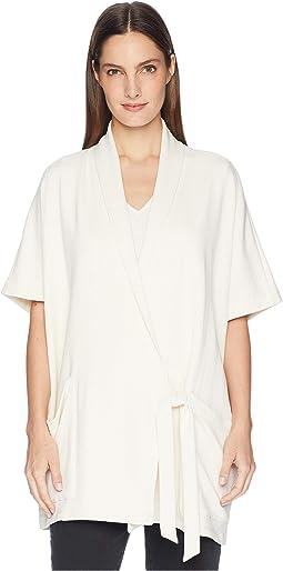 Organic Cotton Blend Terry Drape Neck Elbow Sleeve Kimono Wrap Jacket