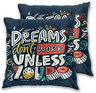 GSRONY Throw Pillow Cover Inspiraional Quote Dreams Dont Work Until You Do Floral Colourful Lettering Home Decoration Soft Pillow Cases Set of 2 for Sofa/Couch/Car/Bed 22