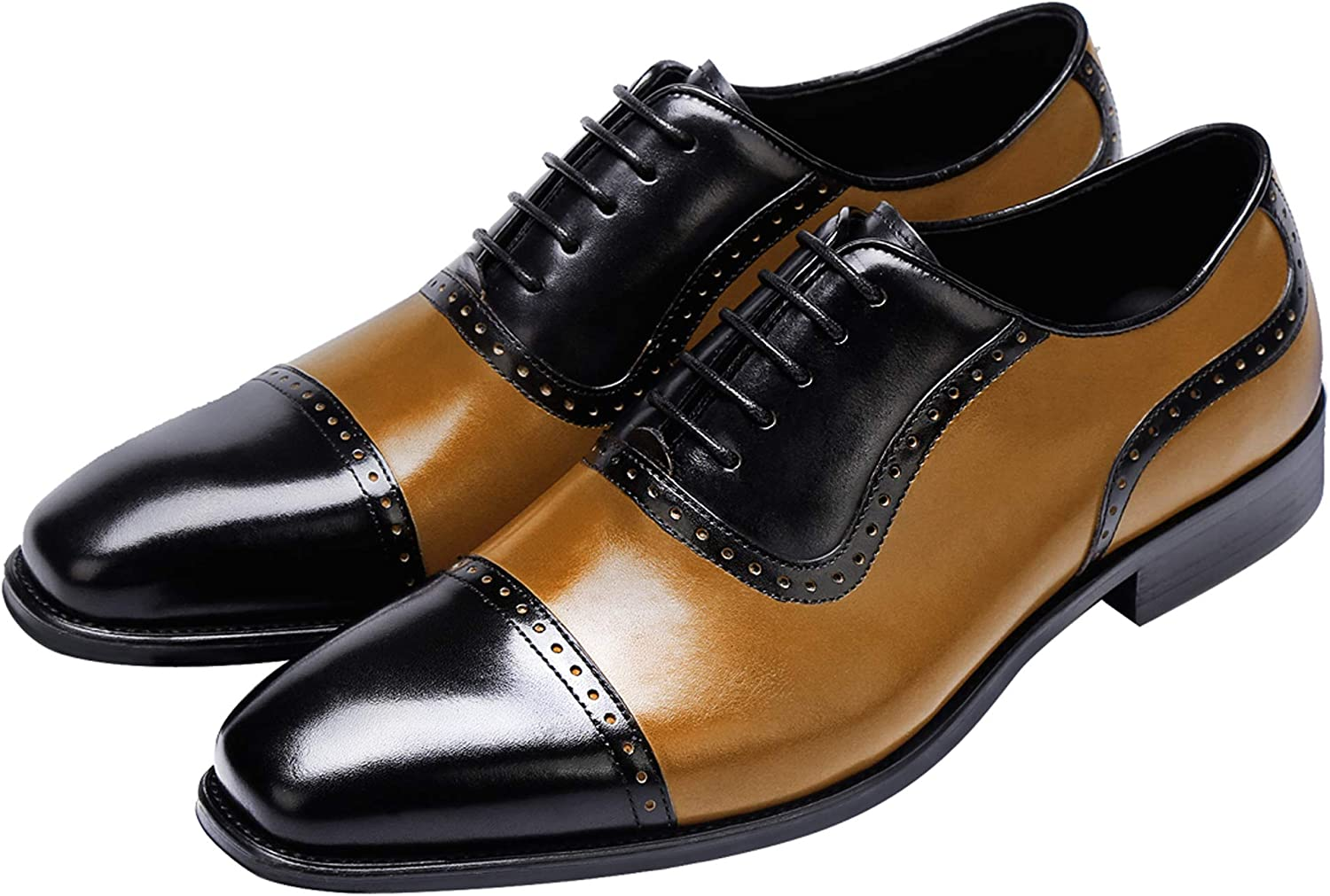 Mens Wingtip Oxford Shoes, Mens Leather Dress Shoes, Brogue Formal Lace-up Shoes for Men