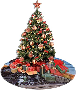 """KKK81 48"""" Christmas Tree Skirt Steam Trains Double Layers A Fine Decorative Handicraft for Holiday Party"""