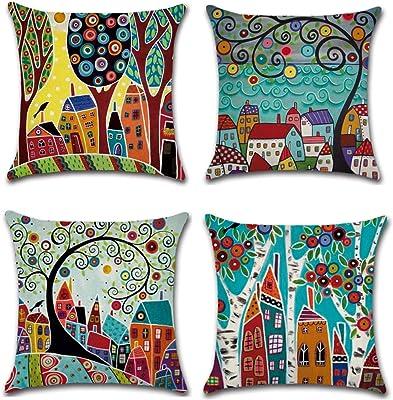 MUROAD Lot de 4 taies d'oreiller, housses de coussin colorées, arbre abstrait, 45 x 45 cm, housse pour coussin de canapé en coton et lin.