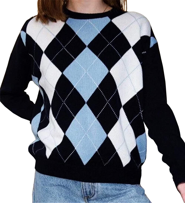 Meladyan Women's Argyle Plaid Knitted P Sweater Long Japan's largest assortment 55% OFF Sleeve