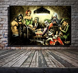 Original Hot Selling Art Home Decor Art Painting HD Print Oil Painting on Canvas,Harley Quinn,The Joker,Suicide Squad,Playing Card (24x36inch)