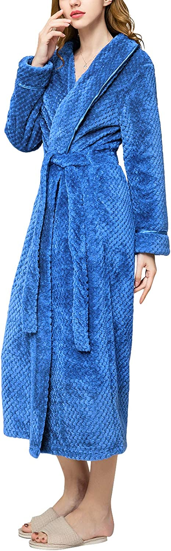 AMONIDA Cotton Bathrobe for Women Long Robes Soft Sleepwear
