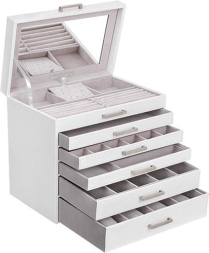 SONGMICS Boîte à Bijoux, Grand, Coffre Bijoux à 6 Niveaux, avec tiroirs et Miroir, pour Bracelets, Boucles d'oreilles...