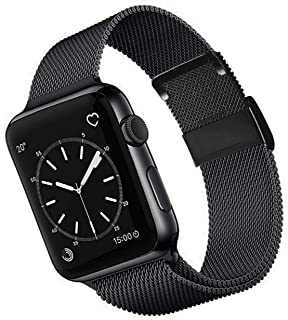 OKPPA Compatible for Apple Watch Band 38mm 40mm 42mm 44mm, Adjustable Magnetic Stainless Steel Mesh Metal Closure Loop with Iwatch Series 5 4 3 2 1(Black, 42mm/44mm)