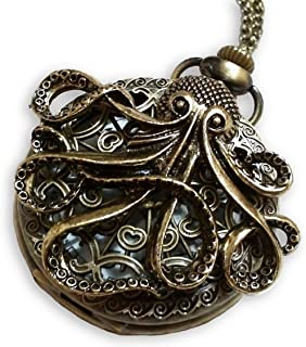 CaseCarnival Steampunk Large Octopus Pocket Watch Necklace - Octopus Sea Monster Pocketwatch Pendant (Brass)