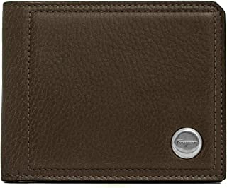 Men's Grained Leather Bifold Wallet Brown