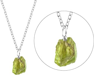 Raw Peridot Necklace in Sterling Silver 18