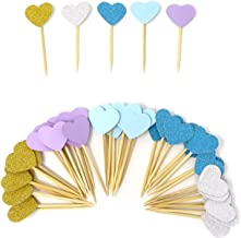 HONBAY 50PCS Glitter Heart Cupcake Toppers Birthday Cake Decoration Food Picks Wedding Party Baby Shower Supplies - Blue Series