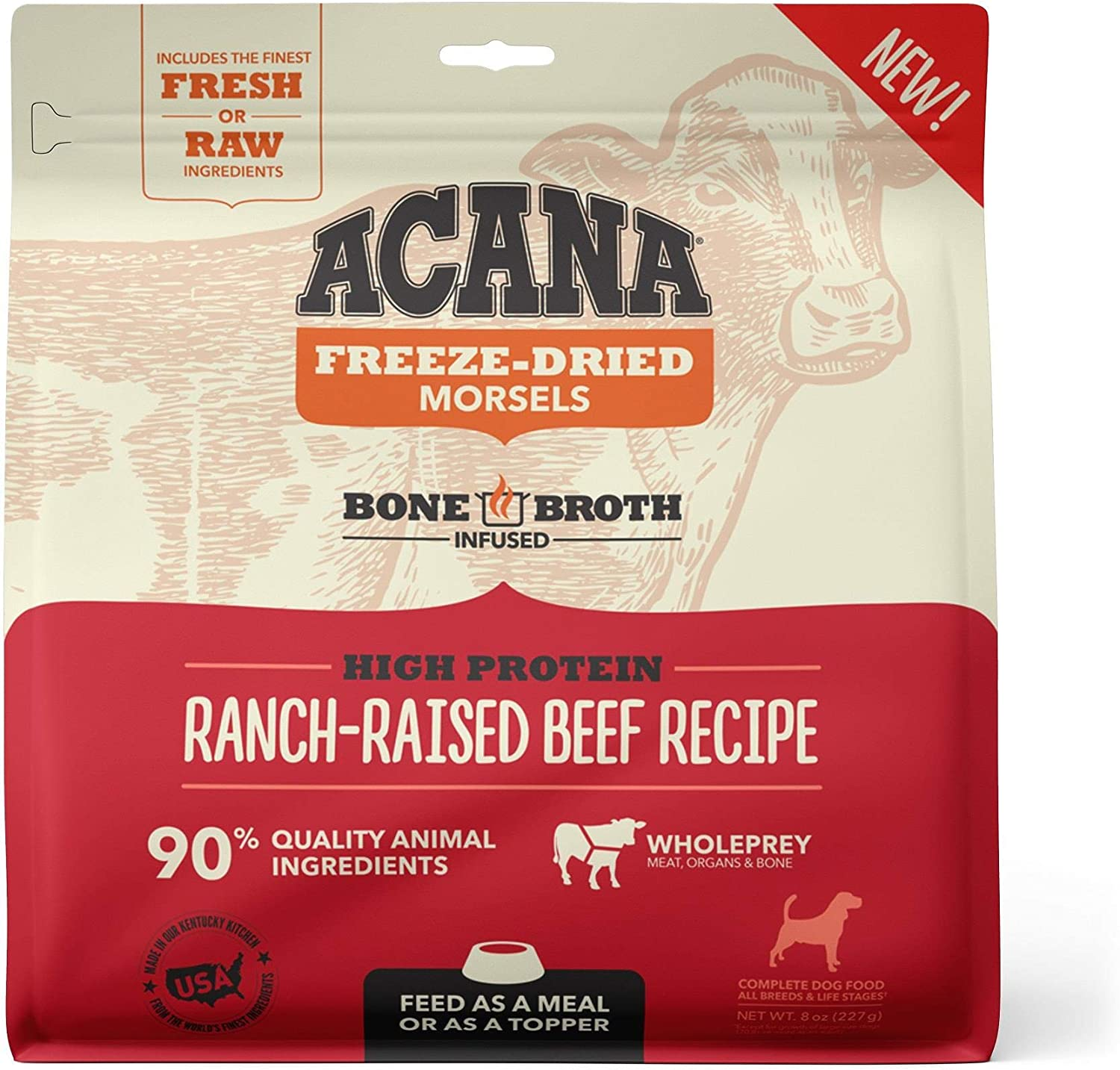 ACANA Grain Free High Protein Fresh & Raw Animal Ingredients Ranch-Raised Beef Recipe Freeze Dried Morsels Dog Food