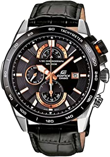 Casio Edifice Men's Black Genuine Leather Band Watch [EFR-520L-1AV]