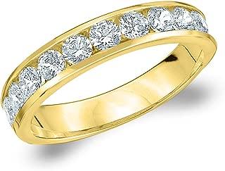1CT Symphony Channel Set Diamond Wedding Band, 1.0CTTW Genuine Diamond Ring in 14K Gold