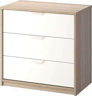 IKEA Askvoll 3-Drawer Chest, White Stained Oak Effect, White