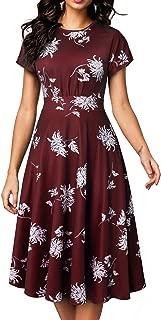 Women's Short Sleeve Floral Casual Aline Midi Dress A102