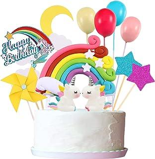 22pcs Unicorn Cake Topper Kit Cloud Rainbow Balloon تولدت مبارک بنر تزیین کیک بادگیر برای پسر بچه تولد کودک