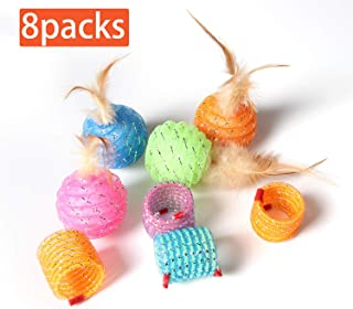 M JJYPET Cat Ball Toy with Feather,8 Packs Colorful Kitten Toys,Including 4 Cat Bell Balls and 4 Springs