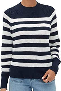 Banana Republic Women`s Chunky Stripe Crew-Neck Sweater, Navy/White