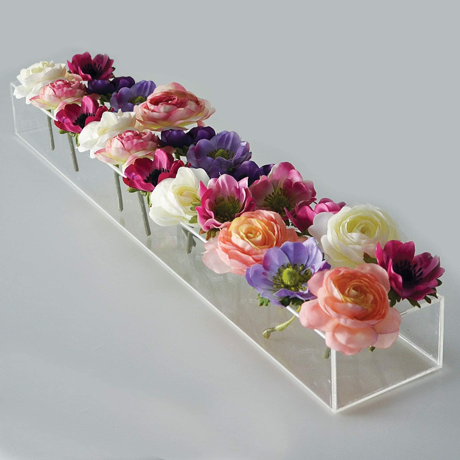 Rectangular Floral Centerpiece For Dining Table 24 Inches Long Rectangular Vase Acrylic Modern Vase Flower Vases Centerpiece Low Floral Vases For Centerpieces For Home Decor Weddings Clear Kitchen Dining