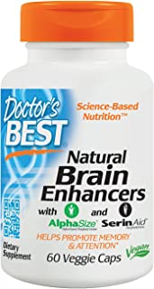 Doctor's Best Natural Brain Enhancers, Non-GMO, Vegan, Gluten Free, 60 Veggie Caps