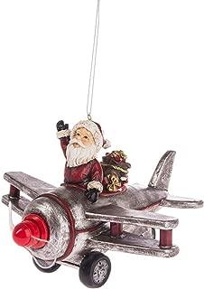 Santa's Ride Airplane Light Up Ornament Standard