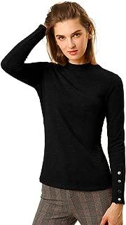Allegra K Women's Mock Neck Basic Solid Long Sleeve Button Cuff Knit Top