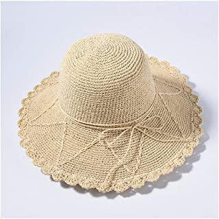 QinMei Zhou New Spring and Summer hat Ladies Travel Sunscreen Visor Korean Version of The Wild Straw hat (Color : Beige)