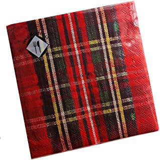 Thanksgiving Napkins, Stripes | Fall Napkins | Fall Beverage Napkins | Christmas Napkins | Christmas Paper Napkins | Cocktail Paper Napkins | Red Plaid Paper Napkins | 5x5 inches, 40 Red Stripes