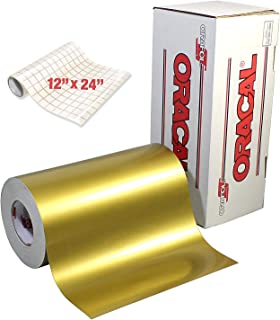 ORACAL Gloss Gold Metallic Adhesive Craft Vinyl for Cameo, Cricut & Silhouette Including Free Roll of Clear Transfer Paper (15ft x 12