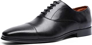 DESAI Captoe Oxfords Handmade Genuine Upper Leather Square-Toe Lace up Dress Shoes Italy Style Men