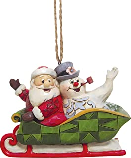Enesco Frosty The Snowman by Jim Shore Santa and Frosty in Sleigh Hanging Ornament