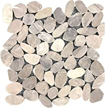 FuStone Decorative Tiles Interlocking Tumbled Pebble Tiles (1-Sheet) Kitchen Floor Bathroom Patio Stone Tile for Indoor an...