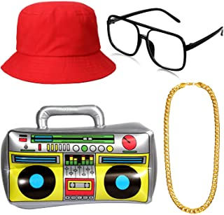 Hip Hop Costume Kit, Inflatable Boom Box Bucket Hat Sunglasses Gold Chain 80s/ 90s Rapper Accessories (Red)