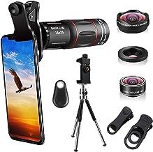 کیت لنز دوربین تلفن همراه 4 در 1 ، لنز زوم تلسکوپی 18X / زاویه فوق العاده Wide 4K HD / لنز ماکرو / فیشای / لبه سه پایه / دوربین سازگار با iPhone Xs Max 8 7 6 Plus ، Samsung HTC Moto و موارد دیگر
