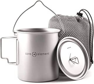 Core Element Dual Purpose Camping Mug or Pot with Lid and Bail Handle - 100% Titanium 750 ml Open Fire Direct Flame Safe (...