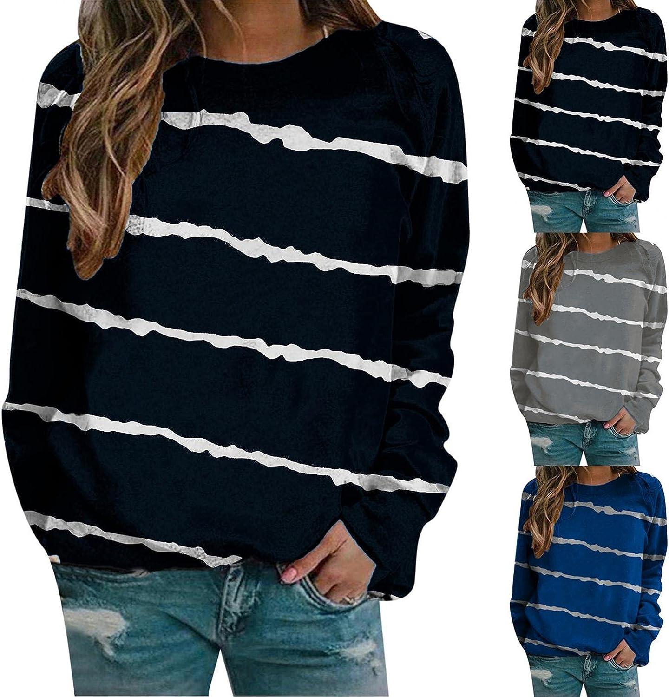 lucyouth Long Sleeve Shirts for Women,Women's Crewneck Casual Cute Stripe Print Loose Sweatshirt Blouses Tunic Tops