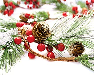 Christmas Garland Winter Red Berries Holiday Decoration Pine Cones, Evergreen Pine Needle – Unlit Berry Garlands Xmas Deco...