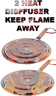Flame Tamer SIMMER Ring Aluminum HEAT Diffuser DISTRIBUTER gas stove top stovetop with Wood Handle (2)