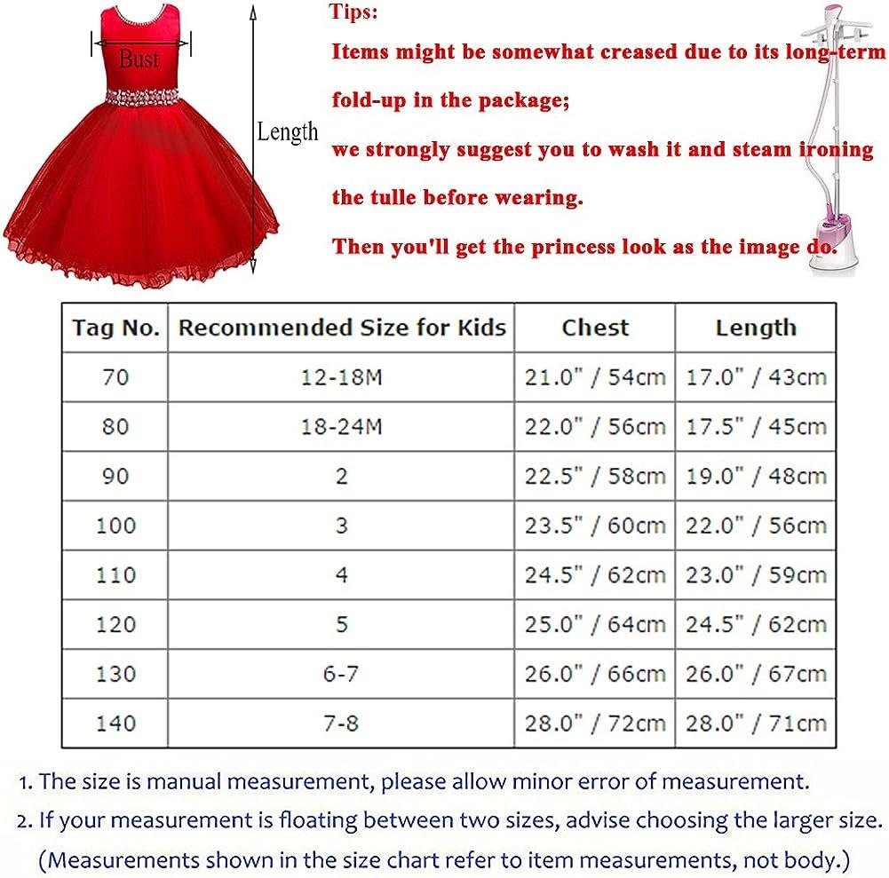 IBTOM CASTLE Kids Baby Girls Rhinestone Ruffle Wedding Gown Party Short Flower Dance Dress Princess Pageant Communion
