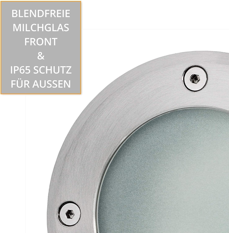 Bodeneinbaustrahler LED VISKOS für Außen IP67 rund mit Durchgangsverdrahtung - Bodenleuchte inkl. GX53 LED 5,5W warmweiß 230V, Stückzahl:1er Set 5,5 Watt - Neutralweiß