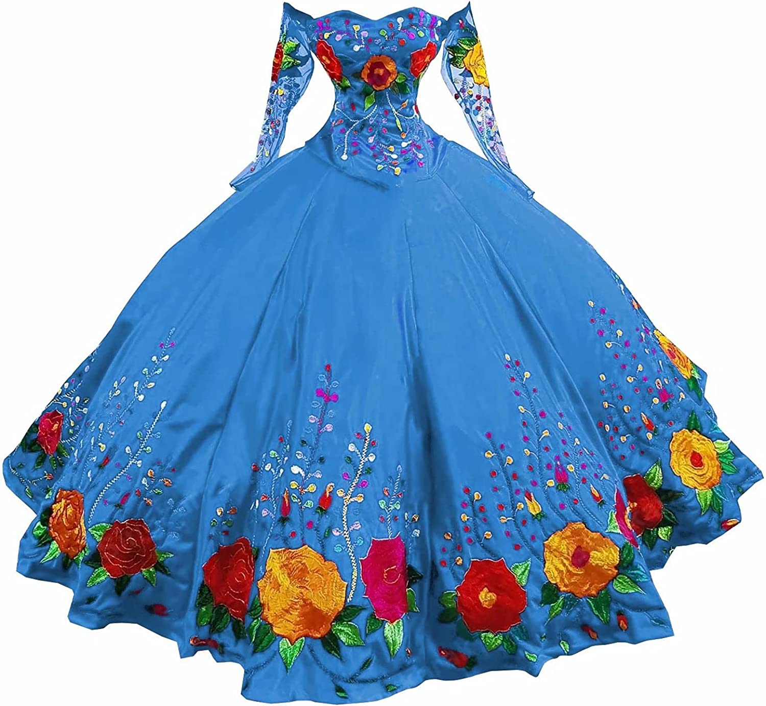 DommyDesign Dallas Mall Colorful Flower Embroidery Mexican online shop Gown Quincea Ball