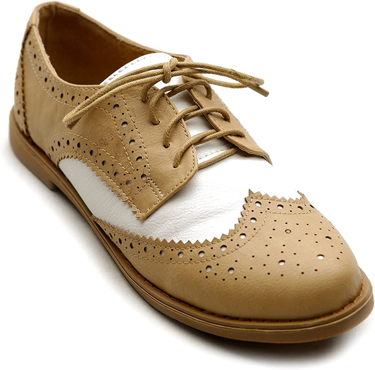 Ollio Women's Flat Shoe Wingtip Up free shipping 5 ☆ very popular Two Lace Tone Oxford