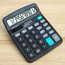Mini Portable Calculator, Standard Function Electronics Calculator, 12 Digit Large LCD Display, Handheld for Daily and Basic Office, Black