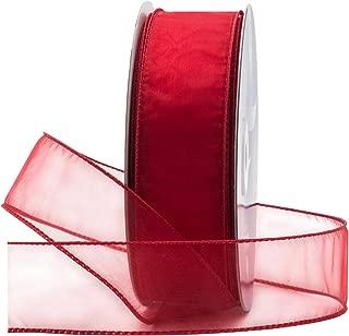Red Organza Wired Sheer Ribbon 1.5