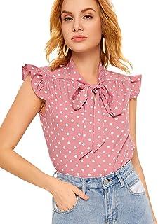 Romwe Women`s Casual Short Sleeve Ruffle Bow Tie Blouse Top Shirts