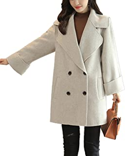 S&S Women Simple Casual Notched Lapel Double Breasted Woolen Trench Coat