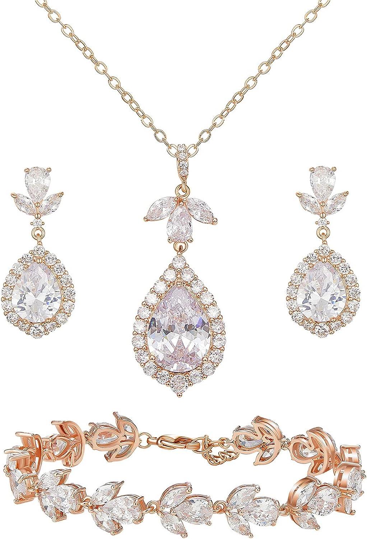 SWEETV Teardrop Bridal Jewelry Set for Wedding, Wedding Jewelry for Bride Bridesmaids, Cubic Zirconia Necklace Dangle Earrings Bracelet Set, Prom Costume Jewelry Set for Women, 3 Packed